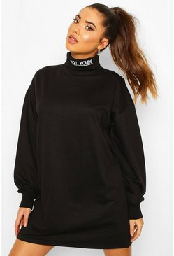 Womens Black Roll Neck Embriodered Sweatshirt Dress