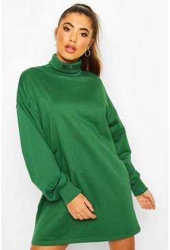 Green Roll Neck Embriodered Sweatshirt Dress