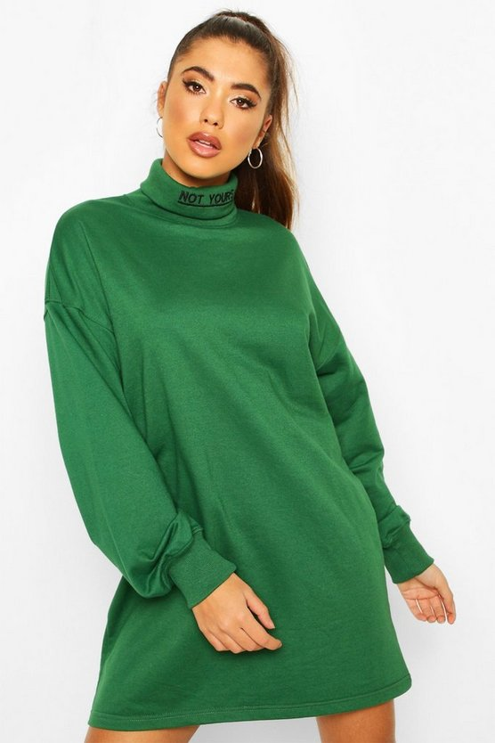 Roll Neck Embriodered Sweatshirt Dress