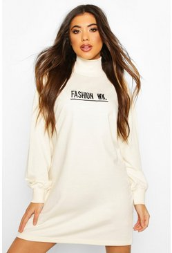 Ecru High Neck Embroidered Sweatshirt Dress