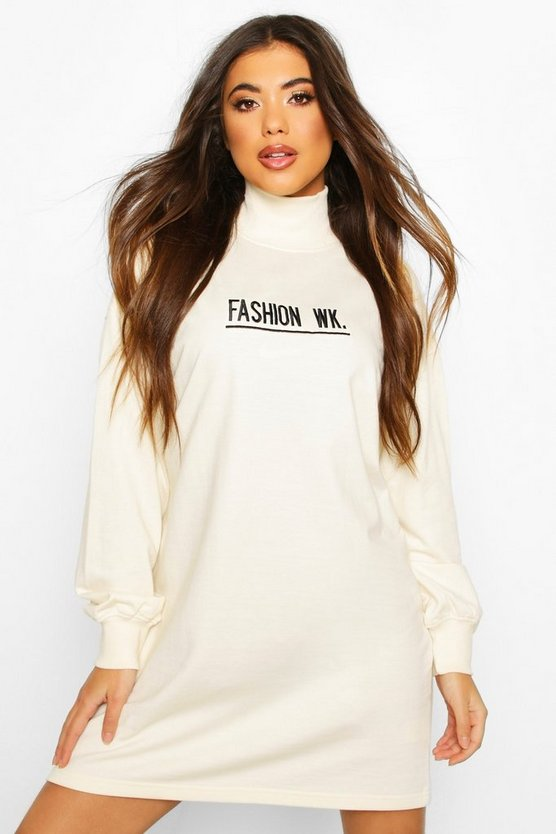 High Neck Embroidered Sweatshirt Dress