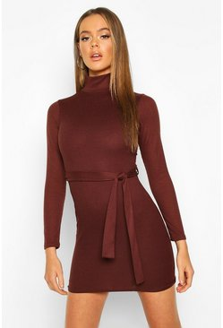 Rib Roll Neck Belted Mini Dress, Chocolate, MUJER