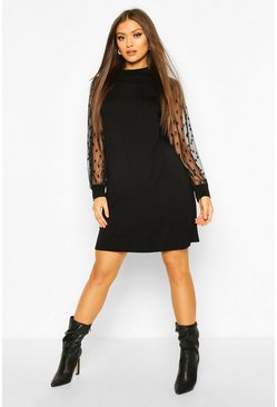 High Neck Polka Dot Sleeve T-shirt Dress, Black