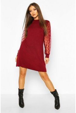 High Neck Polka Dot Sleeve T-shirt Dress, Wine