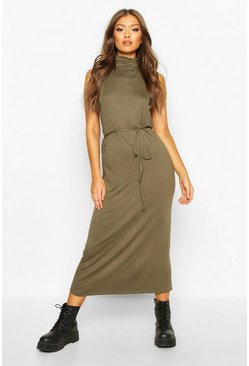 Womens Khaki Roll Neck Sleeveless Midaxi Dress