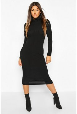 Black Rib Puff Sleeve Roll Neck Midi Dress