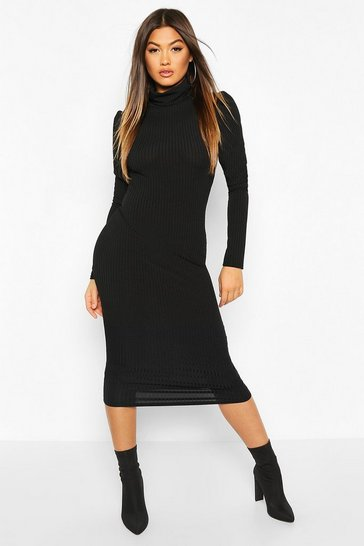 Womens Black Rib Puff Sleeve Roll Neck Midi Dress