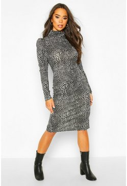 Black Animal Print Puff Sleeve Roll Neck Midi Dress