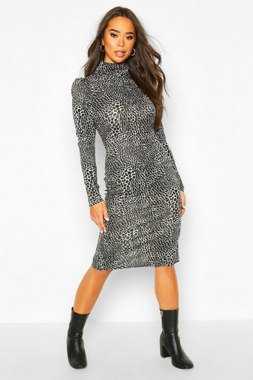 Womens Black Animal Print Puff Sleeve Roll Neck Midi Dress