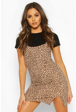 Leopard Cami T-shirt Slip Dress, Black