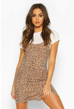 White Leopard Cami T-shirt Slip Dress