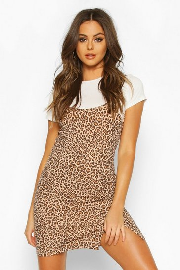 Womens White Leopard Cami T-shirt Slip Dress