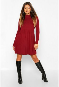 Womens Wine High Neck Drop Waist Smock Dress