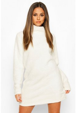 Borg Roll Neck Sweatshirt Dress, Cream, Donna