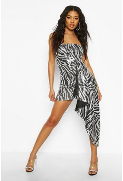 Zebra Sequin Bandeau Mini Dress, Black, MUJER