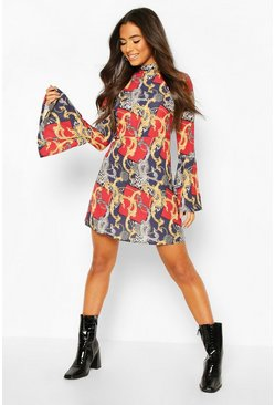 Chain Print Flared Sleeve Skater, Black