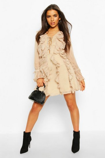 Womens Camel All Over Ruffle Skater Dress