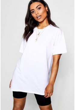 White Round Neck Cotton Tee