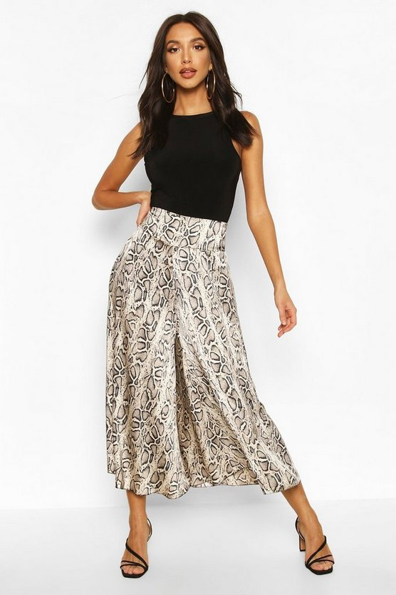 Grey Satin Snake Print Flared Culottes