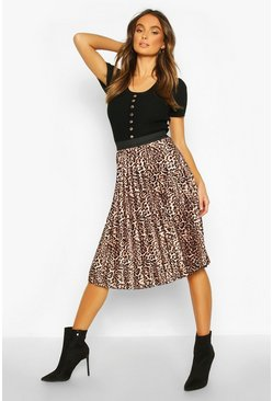 Womens Leopard Satin Pleated Midi Skirt