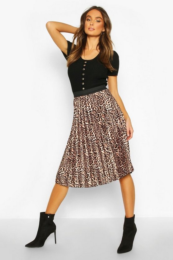Leopard Satin Pleated Midi Skirt