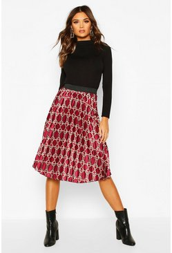Geo Satin Pleated Midi Skirt, Berry