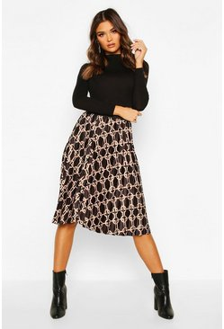 Geo Satin Pleated Midi Skirt, Black