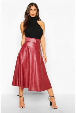 Leather Look Self Belt Skater Skirt, Berry, Femme