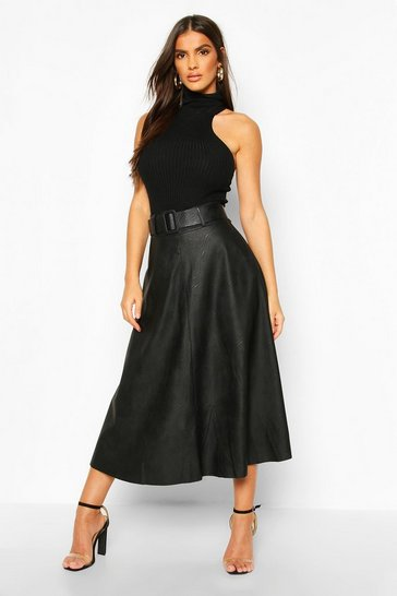 Black Leather Look Self Belt Skater Skirt