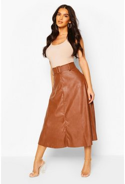 Tan Leather Look Self Belt Skater Skirt