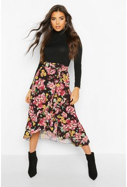 Womens Black Floral Wrap Ruffle Hem Midi Skirt