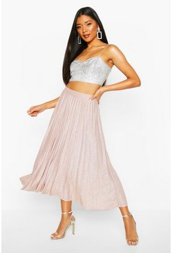 Rose Metallic Pleated Midi Skirt