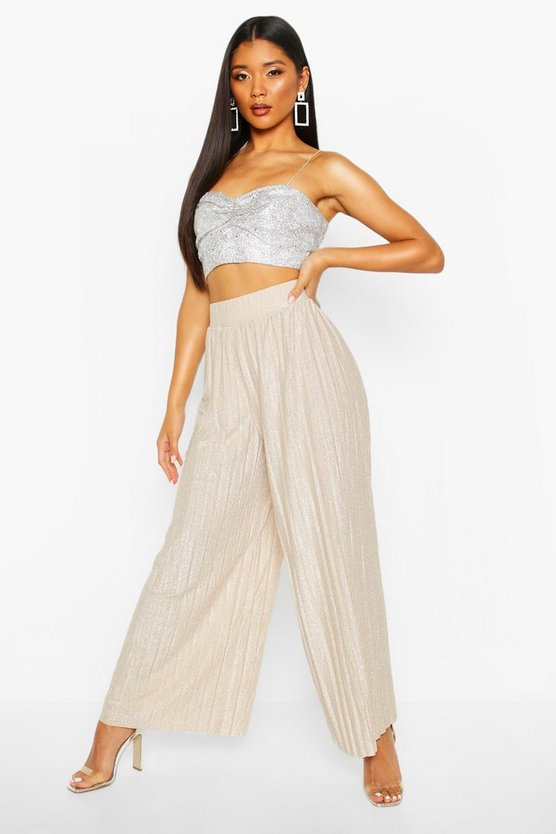 Metallic Pleated Wide Leg Culottes