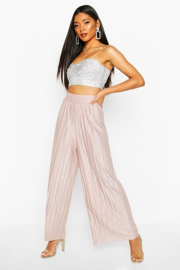 Rose Metallic Pleated Wide Leg Culottes