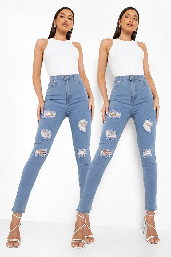 2 Pack High Rise Distressed Skinny Jeans