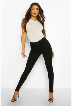 High Rise Super Distressed Disco Jean, Black