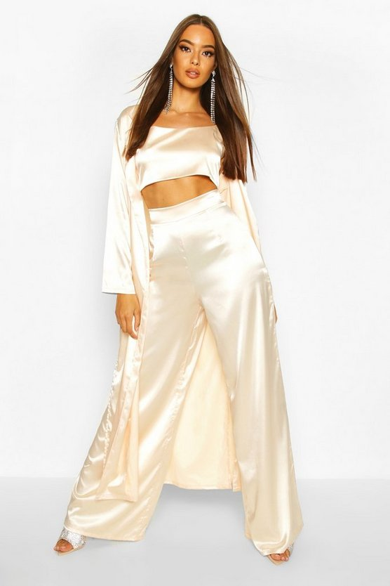 Champagne Satin Duster Jacket