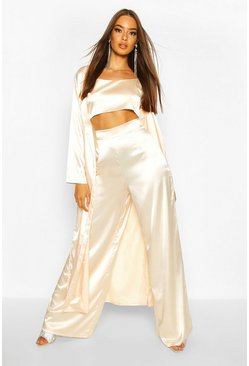 Womens Champagne Satin Duster Jacket