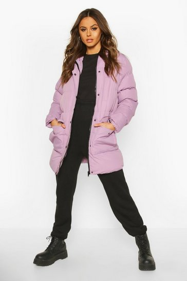 Womens Lilac Hooded Longline Parka