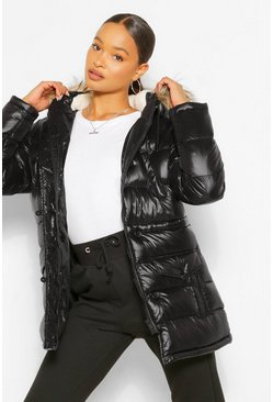 Womens Black High Shine Faux Fur Trim Parka