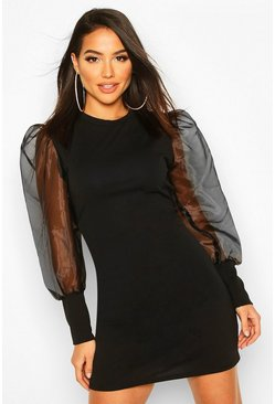 Black Mesh Organza Puff Sleeve Mini Dress