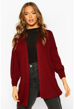 Balloon Sleeve Knitted Cardigan, Berry