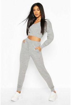 V Neck Cropped Knitted Lounge Set, Grey