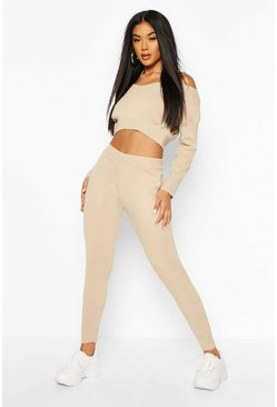 V Neck Cropped Knitted Lounge Set, Stone