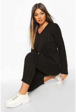 Womens Black Belted Longline Jumper & Legging Lounge Set