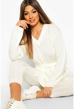 Womens Ivory Belted Longline Jumper & Legging Lounge Set