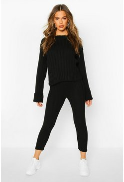 Womens Black Bardot Jumper & Legging Lounge Set