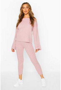 Womens Blush Bardot Jumper & Legging Lounge Set