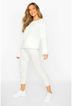 Cream Bardot Jumper & Legging Lounge Set