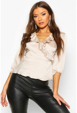 Womens Champagne Satin Ruffle Wrap Top